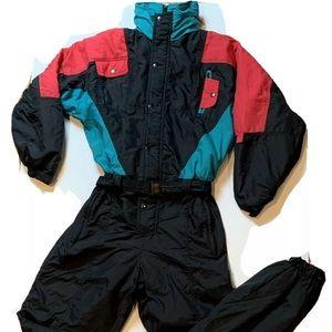 VNTG Red Teal Color Block Ski Bib Snow Suit Retro